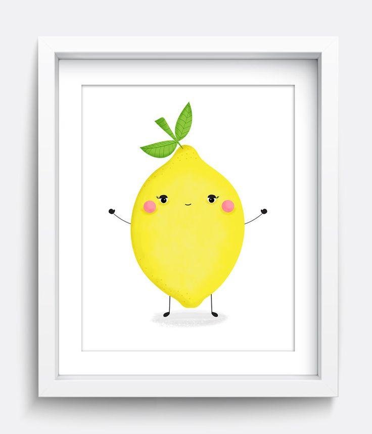 Citron Print Kids Wall Art Déco maison tirages par HelloHappyStudio