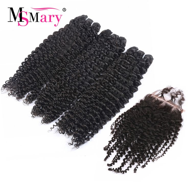 Online Shopping USA Kinky Curly Hair Bundles With Lace Closure Remy Brazilian Human Hair Weave Free Shipping