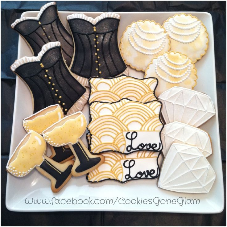Gatsby cookies, the great gatsby bridal shower cookies, 20's inspired cookies, lingerie cookies