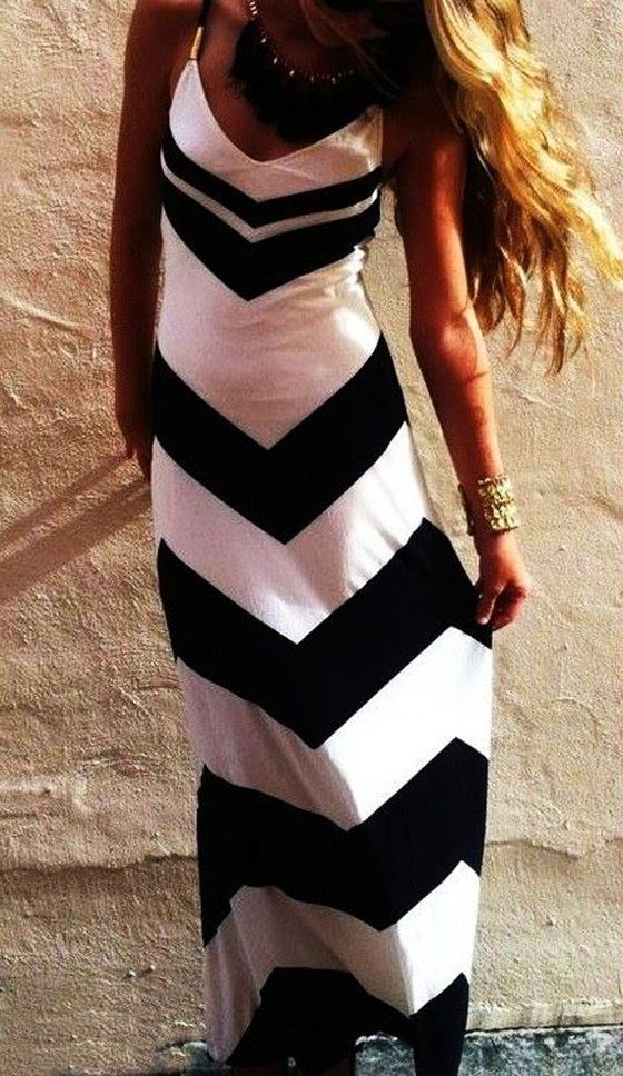 White Wave Striped Condole Belt Sexy Slim Maxi Dress