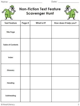 """[FREE] Non-Fiction Text-Feature Scavenger Hunt 