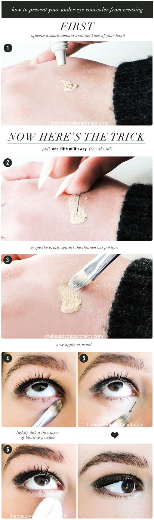 Prevent creases in your under-eye concealer with this easy eye makeup tutorial!