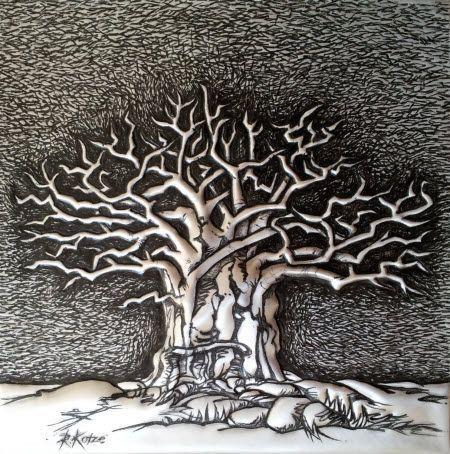 PM369 Baobab -Tree of Life #2 in Metal by Rheta-Mari Kotze. Original, one of a kind Aluminium Flashing wall sculpture. Art size: 200/200/5 mm deep.  Framed. Available  #buyartonline #fineartforsale #metalart #tree #art #sculpture #BaobabTreeSculpture #AfricanArt #decor #wallSculpture #silverart #AluminiumFlashingSculpture