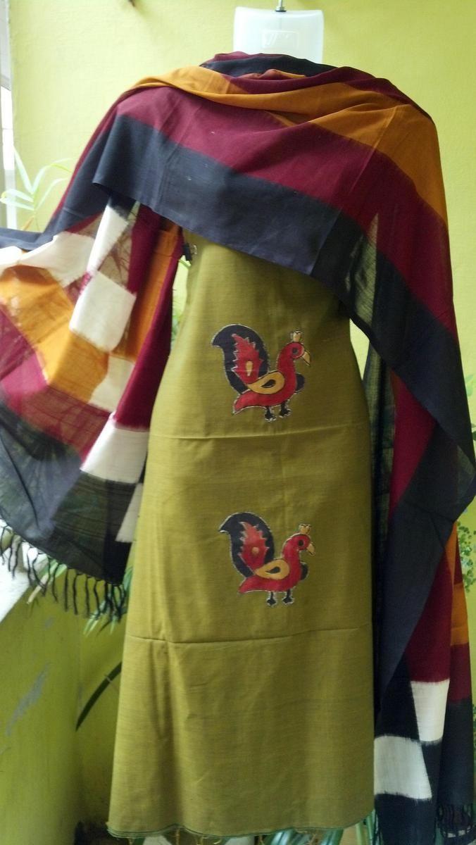 Colourful Ikat dupatta on Mangalgiri with peacocks by Colours N Cottons | Salwar Kamiz | Indiebazaar