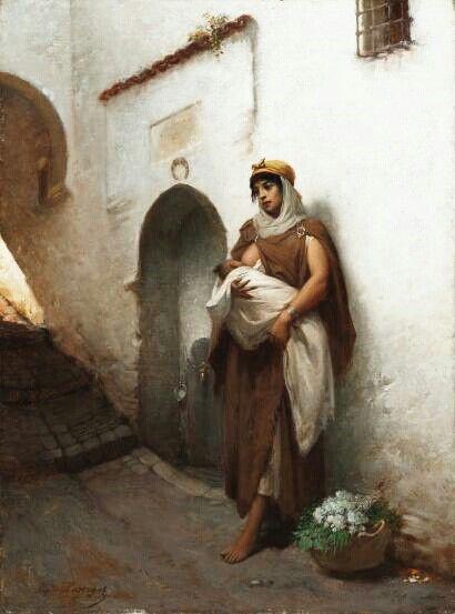 Algérie - Peintre Français   Hippolyte Lazerges(1817-1887), Huile sur toile 1881, Titre : Maternité