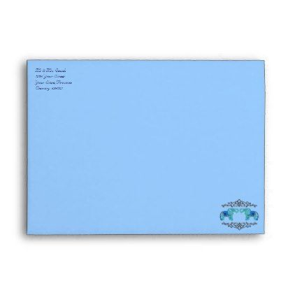 Henna Elephant (Blue/Light Blue) Envelope - light gifts template style unique special diy
