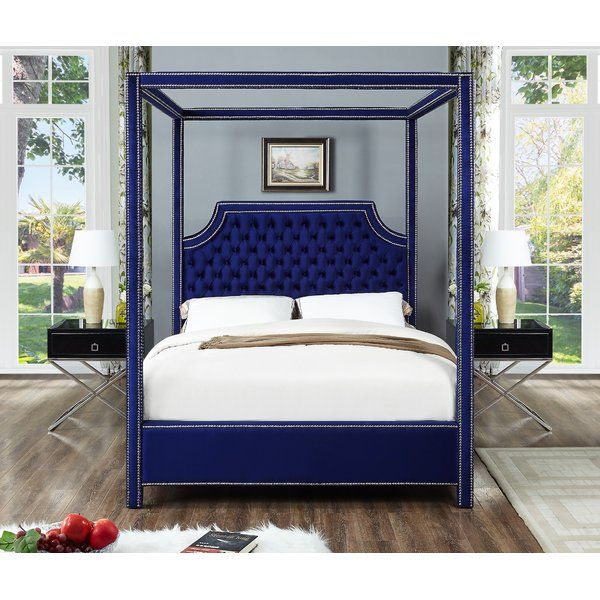 Emet Upholstered Canopy Bed Contemporary Bed Queen Canopy Bed Upholstered Platform Bed
