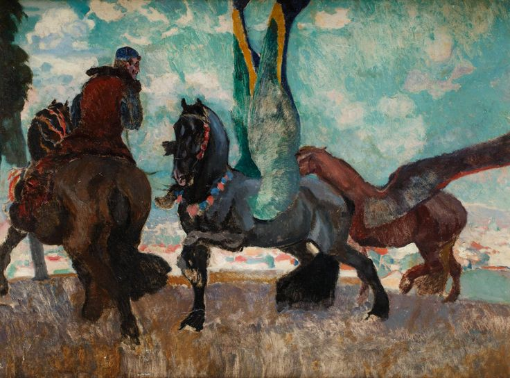 EUGENIUSZ GEPPERT (1890 - 1979)  PEGAZY   olej, tektura, / 69,5 x 93,5 cm