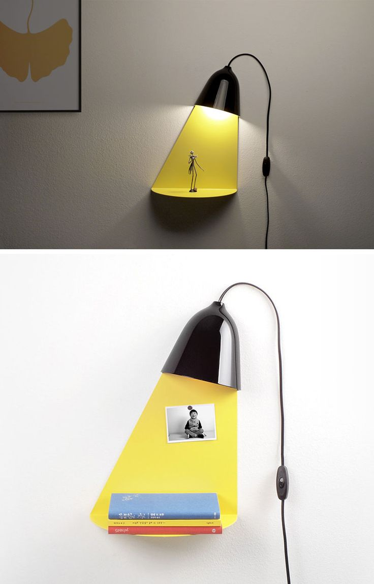 Designer Jong-su Kim of Korean based studio ilsangisang, has designed a lamp that has a built-in shelf for displaying decorative items. #Lighting #Decor #WallLamp