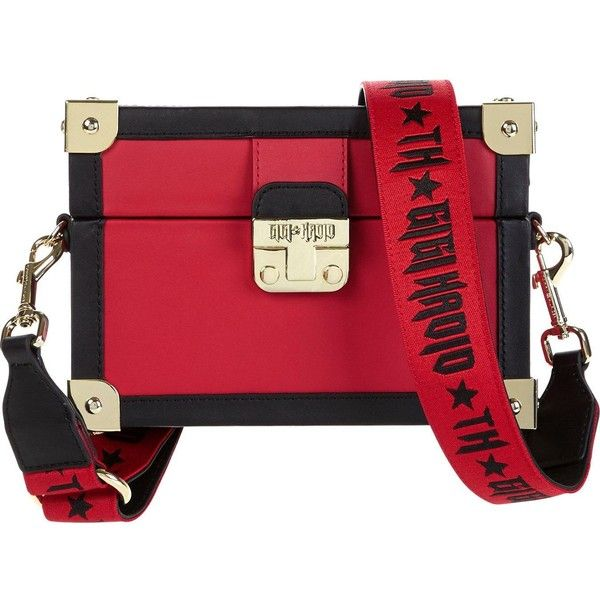 Tommy X Gigi Gigi Box Trunk Cross-Body Bag (£190) ❤ liked on Polyvore featuring bags, handbags, shoulder bags, red, tommy hilfiger crossbody, shoulder strap bags, leather crossbody handbags, cross-body handbag and leather crossbody