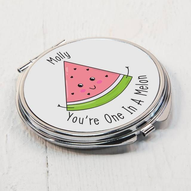 Personalise this pun-tastic compact mirror with your chosen name of up to 15 characters. The metal mirror is 7cm in diameter and is a double sided mirror on opening.