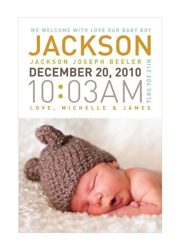 Modern Photo Birth Announcement - Boy or Girl - Digital File