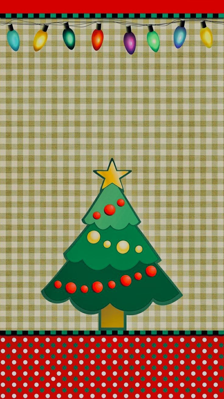 Xmas Tree Checkered Wallpaper