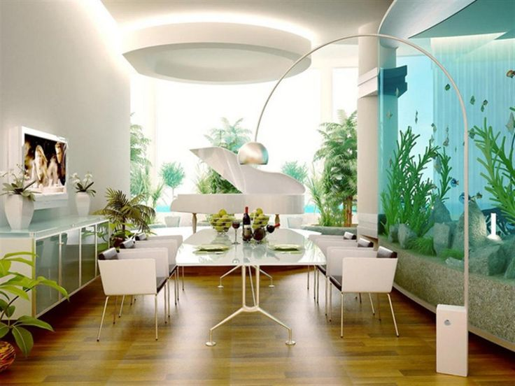 Dining Room:Modern Dining Room With White Dining Set White Chair White Table White Vase White Wooden Piano Aquarium Screen Tv White Iron Arch Lamp Wooden Floor Modern Dining Room Ceiling Decorating Ideas