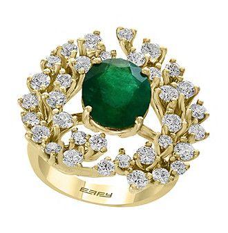 Effy 14K Yellow Gold Diamond Natural Emerald Ring