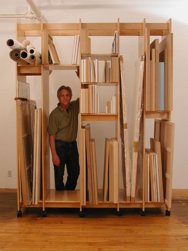 Art Storage System showing how to store art; paintings, drawings, prints, and more. This caters to many different sizes of artwork. ( http://www.art-boards.com/art_storage_system.htm )