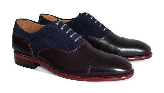 Men's Goodyear Welted Two-Tone Burgundy and Navy Oxford – Brodawka & Friends