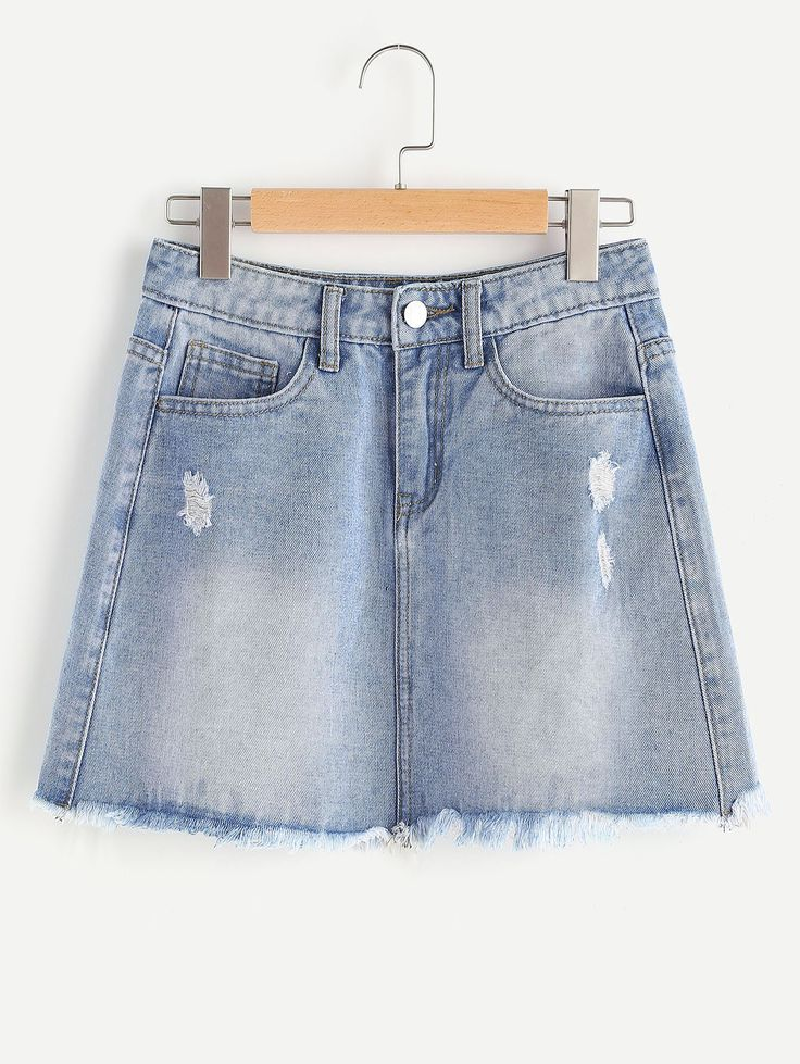 Shop Faded Wash Frayed Hem Mini Denim Skirt online. SheIn offers Faded Wash Frayed Hem Mini Denim Skirt & more to fit your fashionable needs.