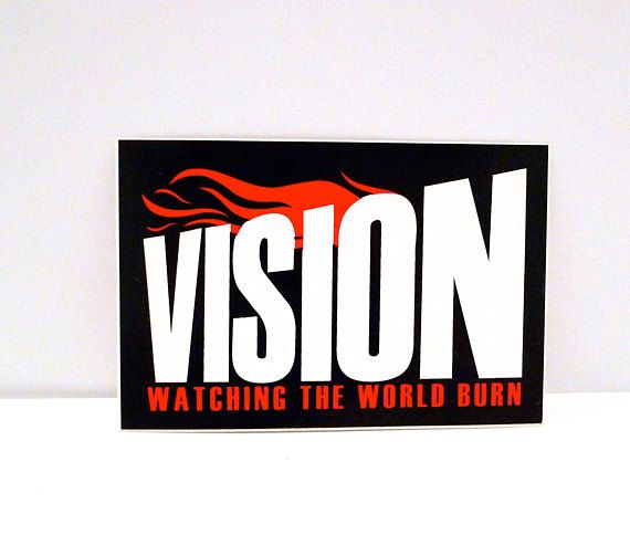 Vision watching the world burn sticker black white and red band sticker hardcore punk wipe the slate clean mohawk music record store