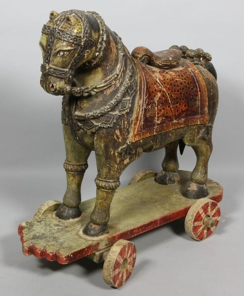 """*ANTIQUE ~ Riding Horse Toy, Thailand/Siamese polychrome carved wood child's riding horse toy, 28"""" h X 18 1/2"""" x 13 1/2 w."""