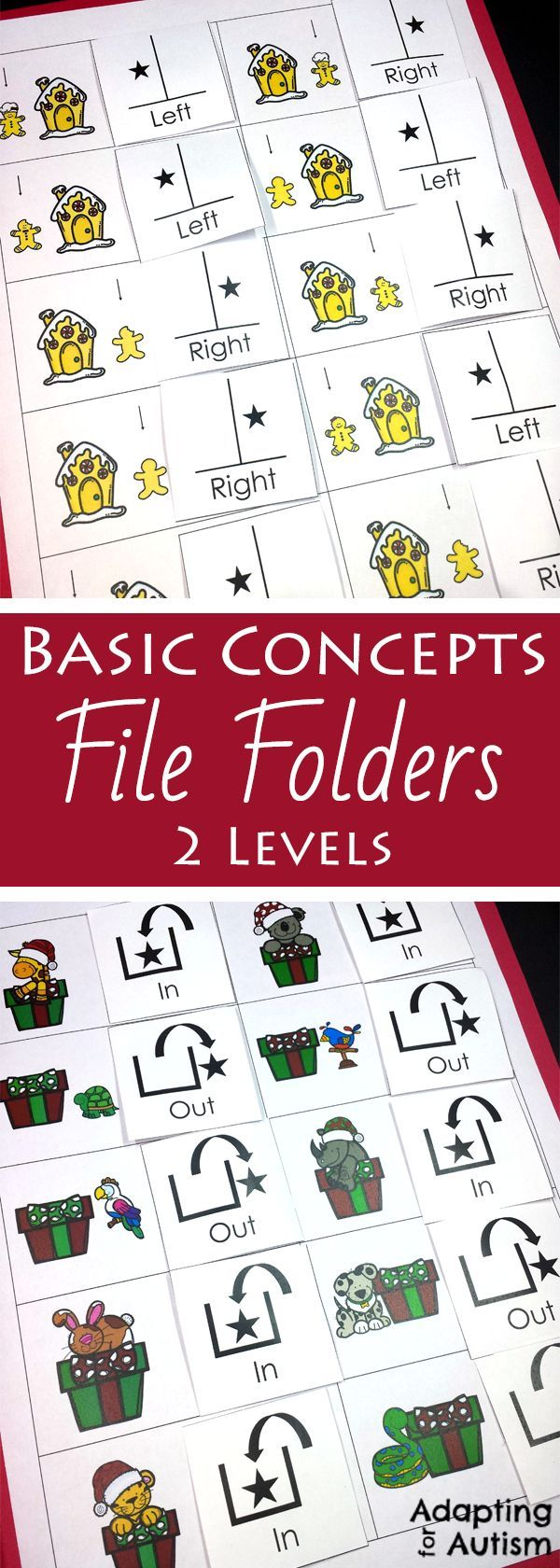 This Christmas file folder activity pack is full of basic concepts practice  for your special education or speech therapy students.  Includes 10  concepts and 2 levels each including many visual supports for your  students with autism.