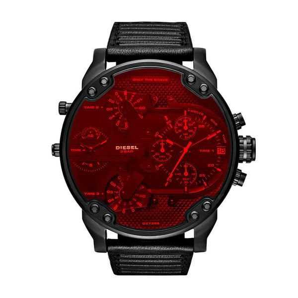 With Black Strap Men's 0 Leather Chronograph MrDaddy 2 Red Ybf6gyv7