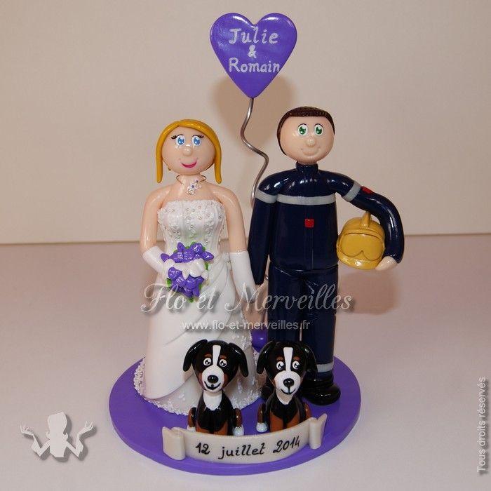 Wedding cake topper / figurines mariage personnalisées - pompier