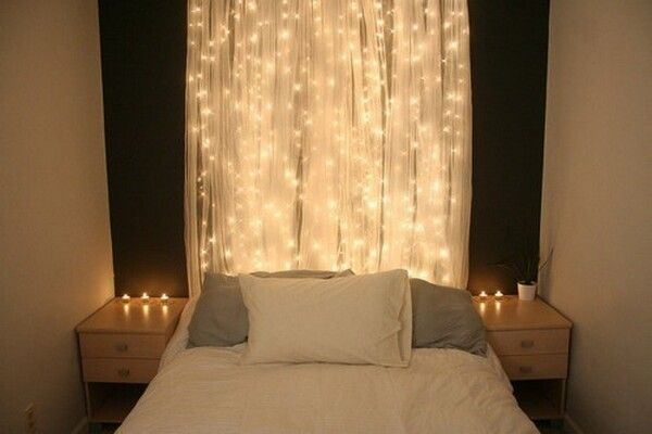 LED lichterketten hinter gardinen schlafzimmer