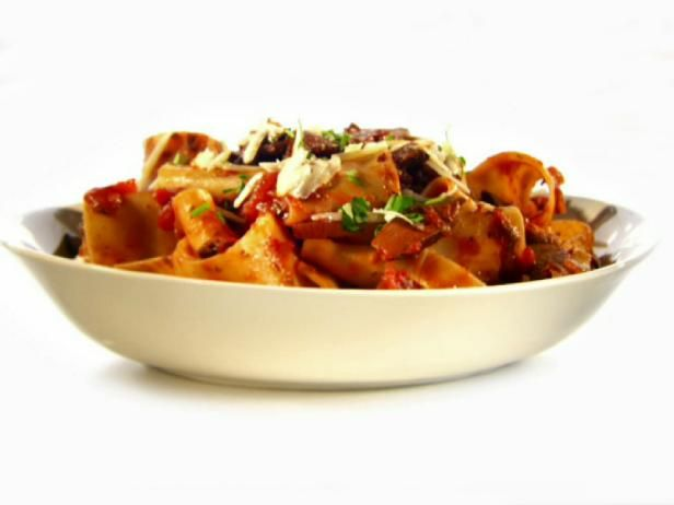 Get Portobello Mushroom, Hot and Sweet Pepper Ragu with Pappardelle Recipe from Food Network