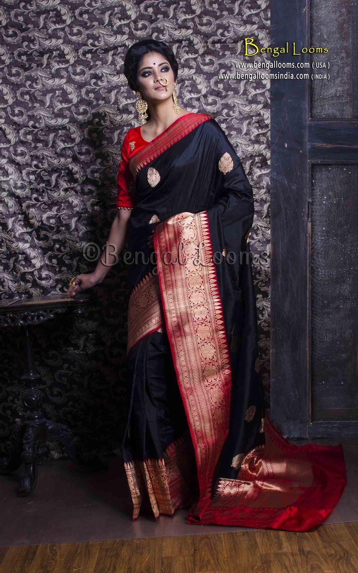 Pure Handloom Katan Silk Banarasi Saree in Black and Red
