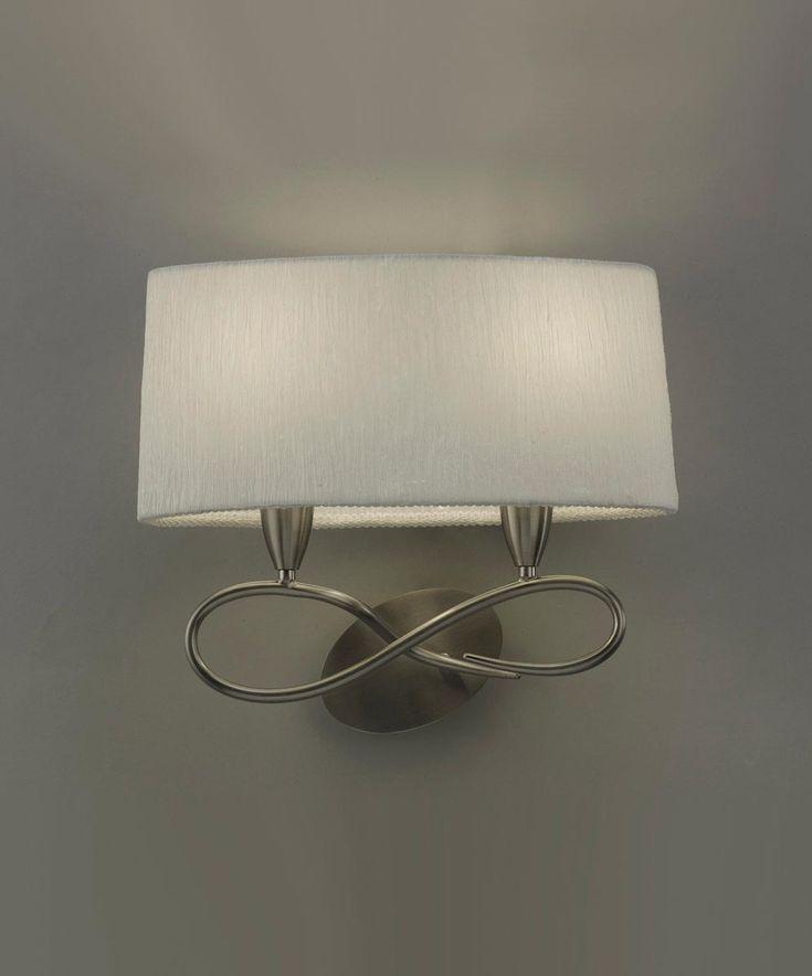 Aplique blanco níquel 2 luces LUA - La Casa de la Lámpara