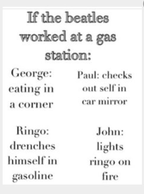 If The Beatles worked at a gas station...