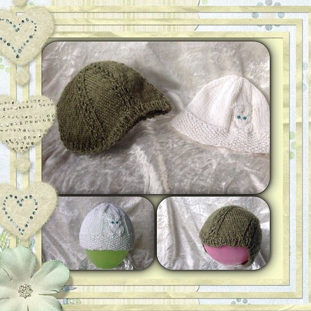 Babybonnet and babybeanie for a little julybaby.... Green made of alpaca and silk. White made of cotton and casmir.