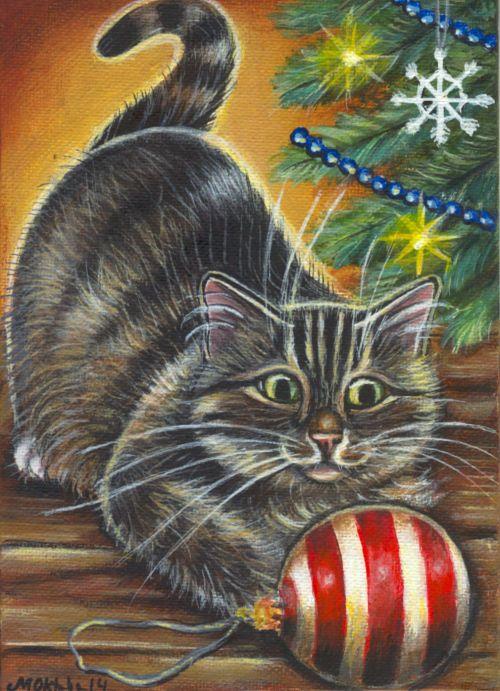 Gray Tabby Cat Christmas Tree - Art Painting