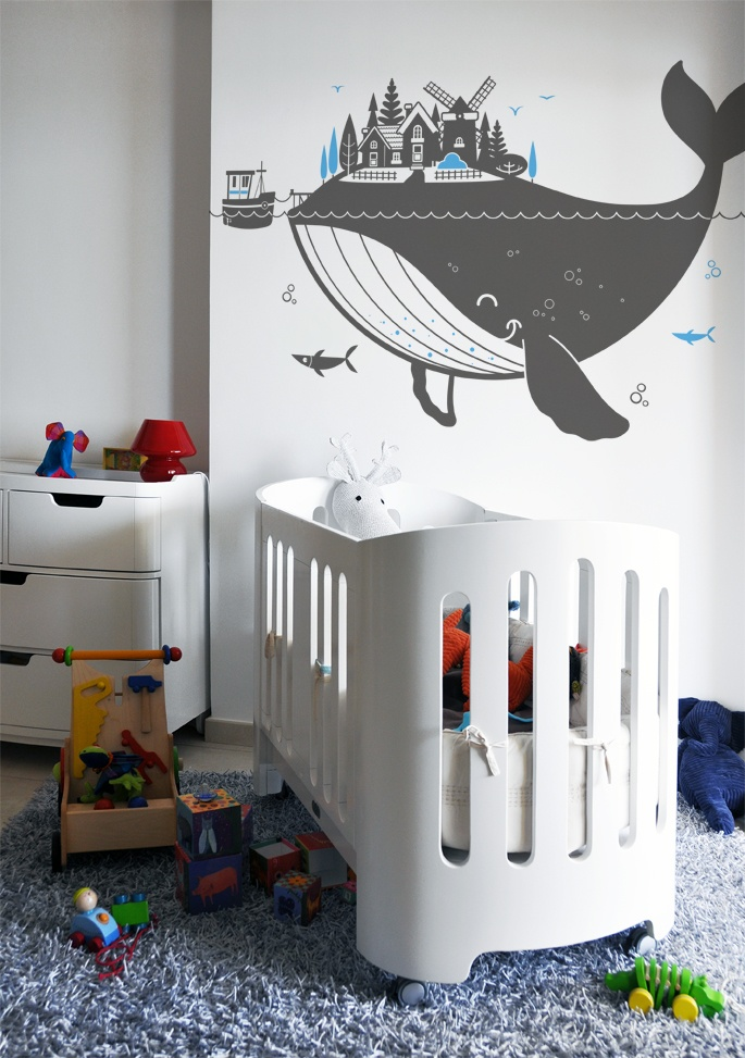 whale island :: new giant wall decal for kids room by e-glue