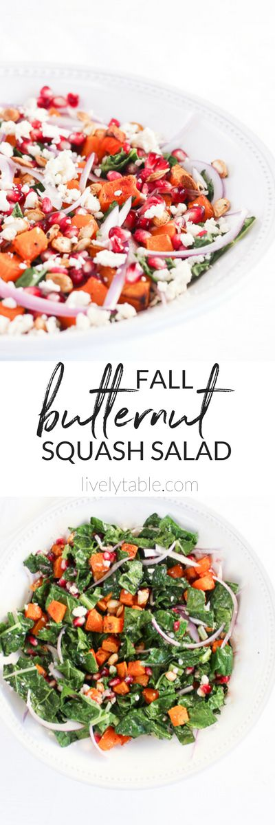 A healthy and delicious fall butternut squash salad that's perfect for something fresh after Thanksgiving! (#glutenfree, #vegetarian) | #fall #salads | via livelytable.com