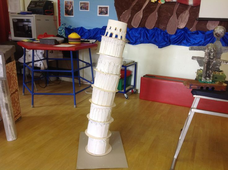 Leaning Tower of Pisa made during a whole school art day on famous buildings around the world.