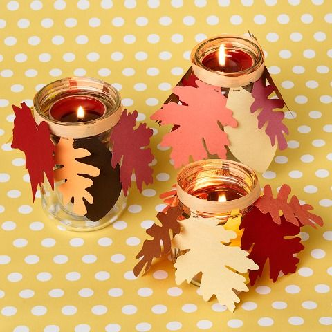 DIY Leaf Candles - brings a warm cozy glow to any table top!