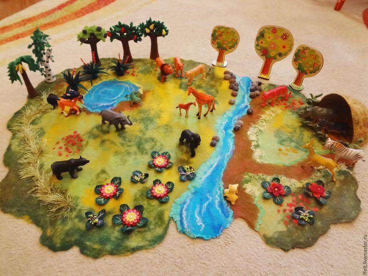 Купить Зоопарк - игровой коврик - игровой коврик, ландшафт, ландшафтный дизайн, интерьерный коврик, в детскую
