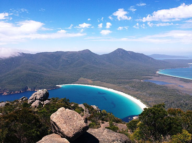 Wineglass Bay from the summit of Mount Amos
