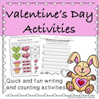 Varied quick and fun Valentine's Day themed activities to use with your kids. Included is: *Acrostic poem template *Valentine *Love *Writing template *Counting hearts - ten frames activity *Adding hearts on ten frames *Matching game *Bunny Colouring Page **Check out the preview for
