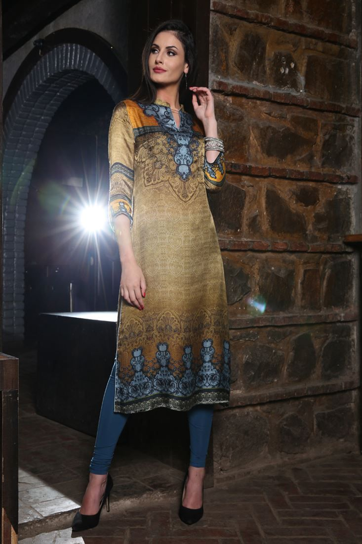 Online Shopping of Party Wear Beige Color Kurti With Fancy Digital Print Designs In Silk Fabric from SareesBazaar, leading online ethnic clothing store  offering  latest collection of sarees, salwar suits, lehengas & kurtis