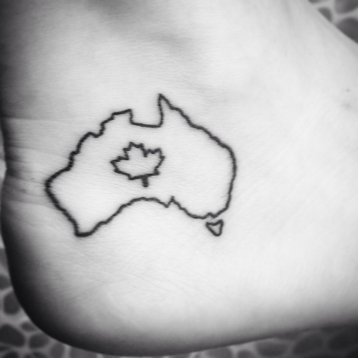 Half Australian half Canadian small tattoo on my ankle. One of a kind.