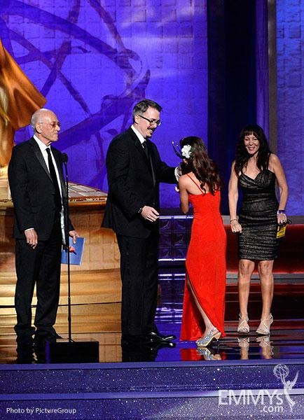 """(L-R) Mark Margolis and Vince Gilligan present the Outstanding Makeup For A Multi-Camera Series or Special (Non-Prosthetic) award to representatives of """"Dancing With The Stars - Episode 1307"""" onstage at the Academy of Television Arts and Sciences 2012 Primetime Creative Arts Emmy Awards at the Nokia Theater L.A. Live."""