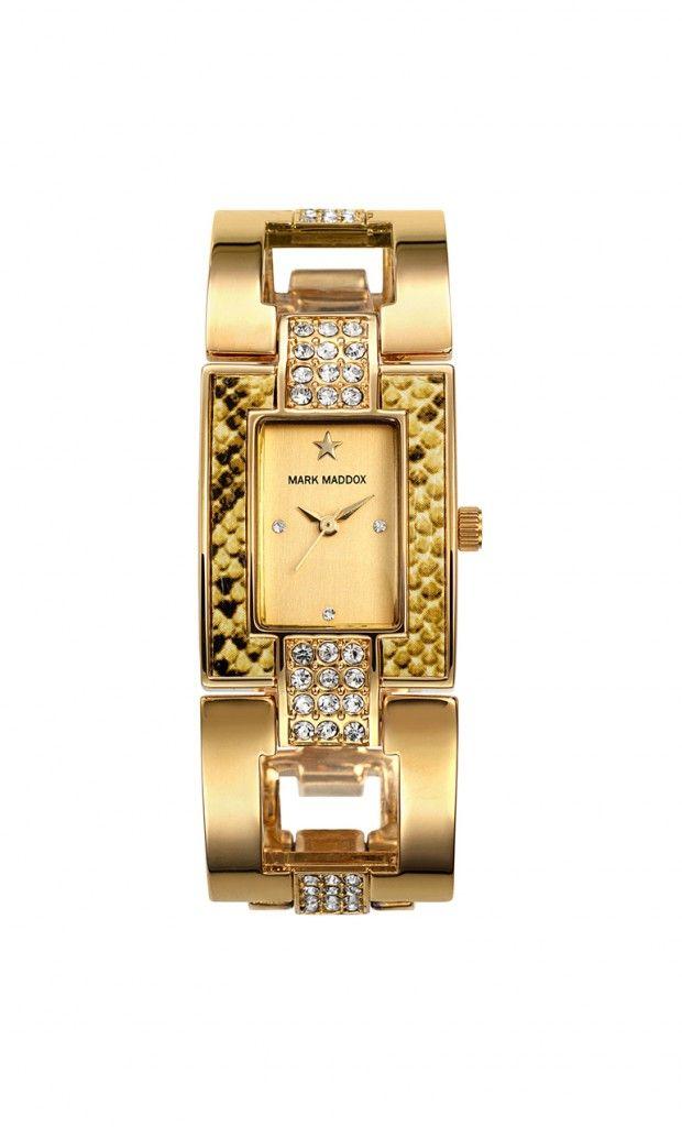 Un diseño único que solo Mark Maddox puede ofrecerte, que te parece???   Reloj tres agujas brazalete con acabado IP Dorado y cierre desplegable. Cristal mineral e impermeable 30m (3ATM).
