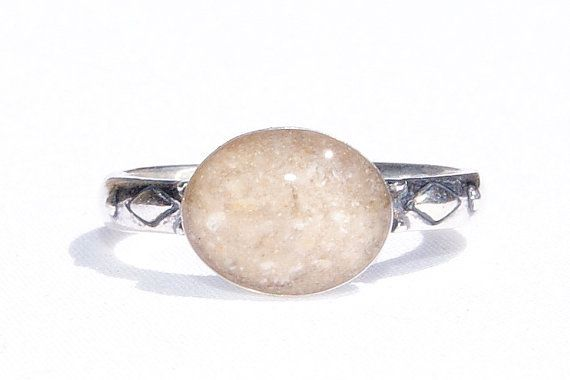 Sterling Silver Thin Detailed Band Ring with Solidified Ashes - - Cremation Jewelry - A Sophisticated Reminder
