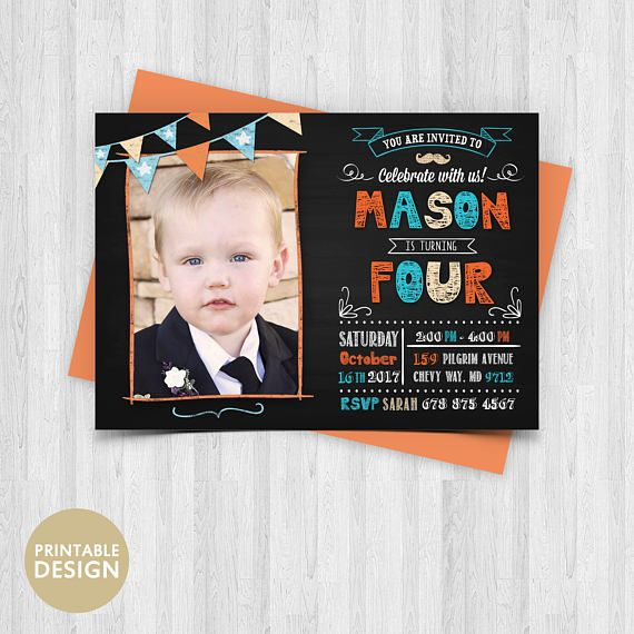 Printable Chalkboard Birthday Invitation  Boy or Girl
