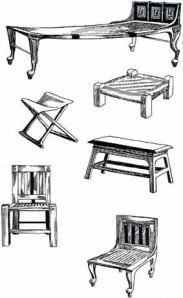 """ANCIENT EGYPTIAN FURNISHINGS:  typical furniture items  __most chairs/stools tended to be lower than today's standards and some were intended for someone to sit """"indian style"""" rather than the way we sit in chairs today (typically). Beds were also low to the ground--like a platform bed. Furniture was simple and embellished according to social status/money."""