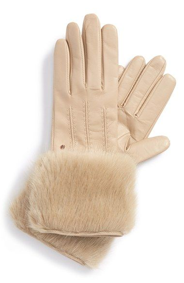 Ted Baker London Leather & Faux Fur Gloves available at #Nordstrom