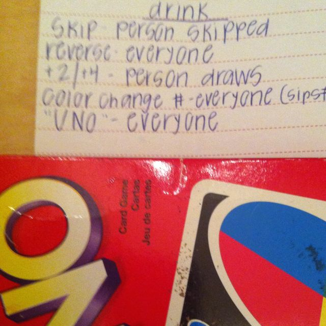 Played this for years...  Skip- person skipped drinks Draw 2- person drinks 2 Draw 4 wild- The person laying down cards can pick 4 any variation of 4 people to drink Wild you pick one person to drink Reverse the person next on reverse drinks UNO- everyone else drinks